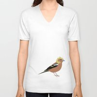 80s V-neck T-shirts featuring 80s finch by Plumage / Fjærdrakt