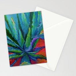 IMPRESSIONIST TURQUOISE BLUE DESERT AGAVE CACTI Stationery Cards
