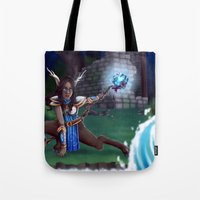 arya Tote Bags featuring Guardian of The Forest by Sara Poveda