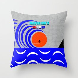 Maverick's California surfing art Throw Pillow