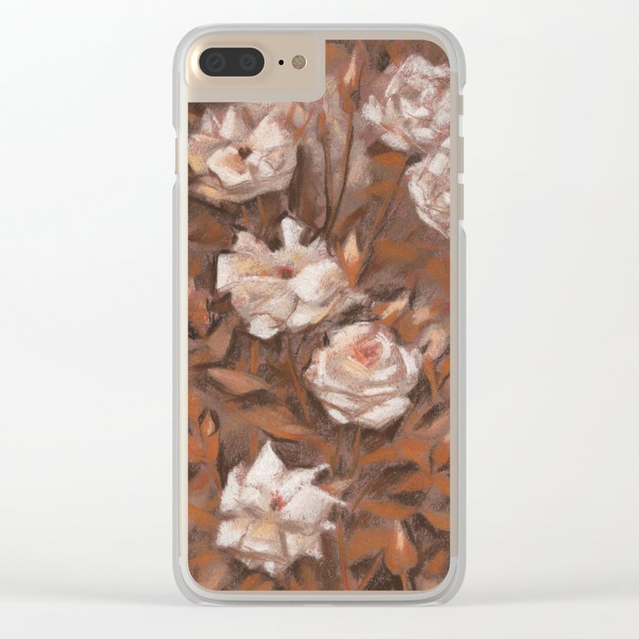 """White roses"" hand drawn vintage floral pattern in earth colors Clear iPhone Case"