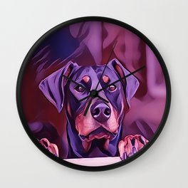 Doberman Looking Out The Window Wall Clock