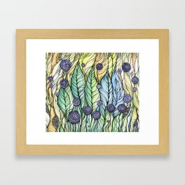 Dandelions.Hand draw  ink and pen, Watercolor, on textured paper Framed Art Print