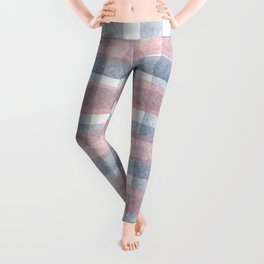 Pink And Blue Watercolour Checkers Leggings