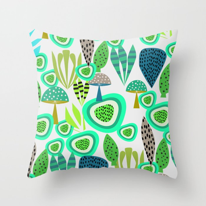 Fresh abstract greenery Throw Pillow