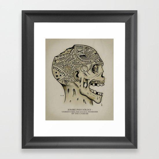 Zombie Phrenology Framed Art Print