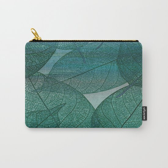 Painterly Green And Blue Leaf Abstract Carry-All Pouch