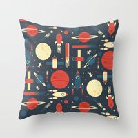 stickers Throw Pillows featuring Space Odyssey by Tracie Andrews