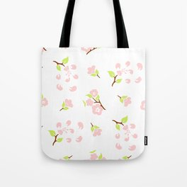 Seamless pattern of stylized flowers and leaves of cherry Tote Bag