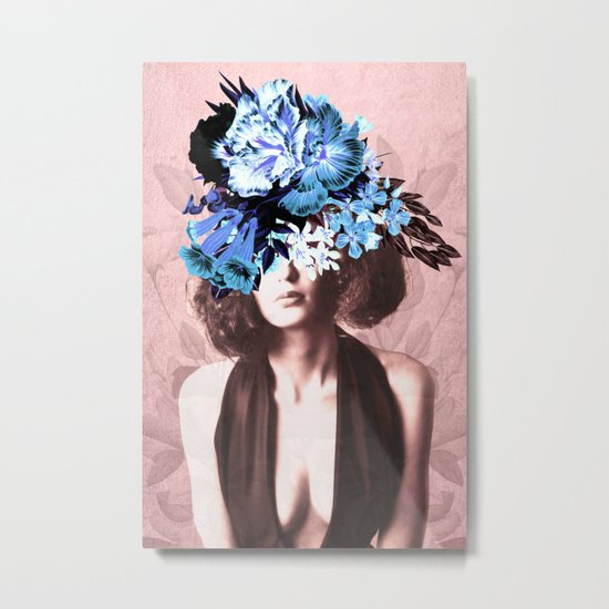 Floral Woman Vintage Blue and Pink Rose Gold Metal Print