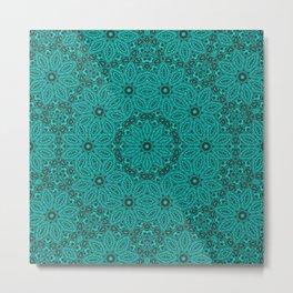 Beautiful mandala in teal and green Metal Print