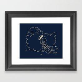 Girl and sheep. Framed Art Print