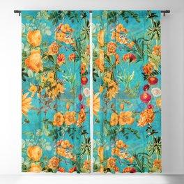 Vintage & Shabby Chic - Blue Botanical Flowers Summer Day  Blackout Curtain