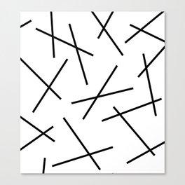 Black and white mikado stripes dash pattern Canvas Print