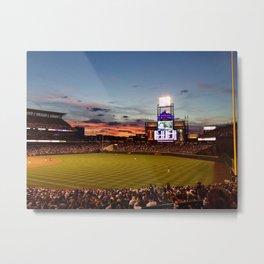 Denver Rockies 7, LA Dodgers 5, and Denver with a Beautiful Night Sky.  Metal Print