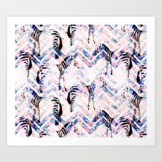 Zebras in bloom Art Print