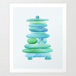 Sea Glass Cairn Watercolor Art Print