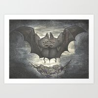 Two Headed Bat - Halloween Art Print