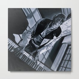 Blues Man With Piano Metal Print