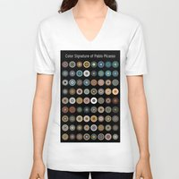 pablo picasso V-neck T-shirts featuring Color Signature of Pablo Picasso by Yijia Xiong