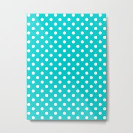 Small Polka Dots - White on Cyan Metal Print