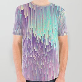 Iridescent Glitches All Over Graphic Tee