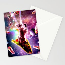 Outer Space Taco Cat - Rainbow Laser Eyes, Burrito Stationery Cards