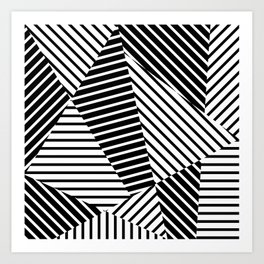 Abstract Striped Triangles Art Print