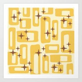 Retro Mid Century Modern Abstract Pattern 577 Yellow Brown Art Print