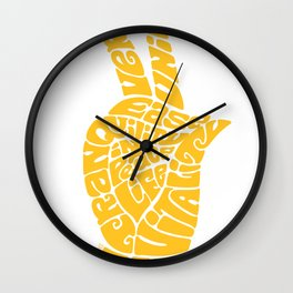 Life Force Hand in Rich Yellow Wall Clock