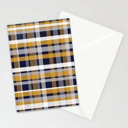 Modern Retro Plaid in Mustard Yellow, White, Navy Blue, and Grey Stationery Cards