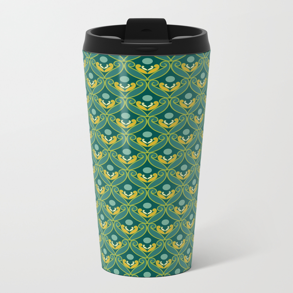 Stylized Lotus In Blue, Green And Gold Metal Travel Mug by Deborahann MTM8867942