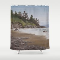 vancouver Shower Curtains featuring China Beach, Vancouver Island by Andrea Vreken Art