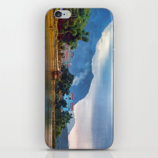 Painted Blue House Landscape iPhone & iPod Skin