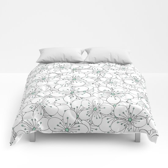 Cherry Blossom Mint Comforters