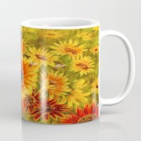 sunflowers Mugs featuring SUNFLOWERS by Vargamari