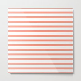 Seamless coral striped pattern on white Metal Print