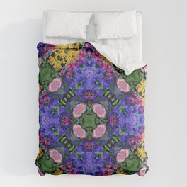Floral Spectacular: Blue, Plum and Gold - repeating pattern, diamond, Olbrich Botanical Gardens, Mad Comforters