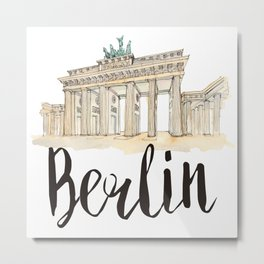 Berlin watercolor Metal Print