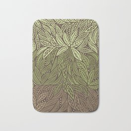 Polynesian Tribal Tattoo Shades Of Green Floral Design Bath Mat