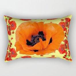 MODERN ART POPPIES GARDEN GREY DESIGN Rectangular Pillow
