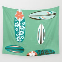 surfboard Wall Tapestries featuring Retro Hawaiian Surfboard by Vanillabeandesigns