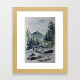 Fly Fishing in a Watercolor Framed Art Print