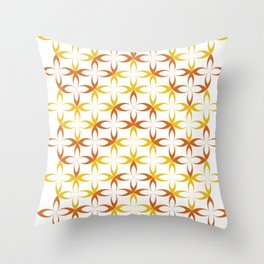 orange sylized schematic flower Throw Pillow
