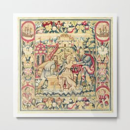 Susanna and the Elders 16th Century German Tapestry Print Metal Print