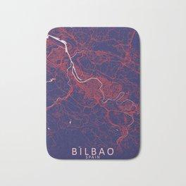 Bilbao, Spain, Blue, White, City, Map Bath Mat