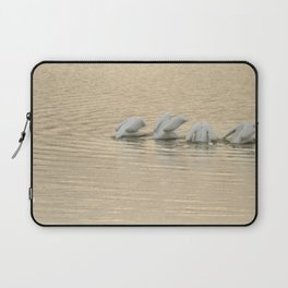Whimsical White Pelicans Dance Laptop Sleeve