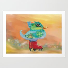 a skating snozzleberryduck day in autumn Art Print