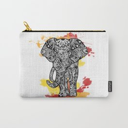 Tribal Elephant- Red Orange Carry-All Pouch