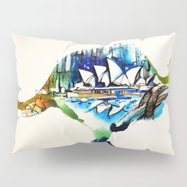 Australia City Skyline Vintage Travel Love Watercolor Pillow Sham
